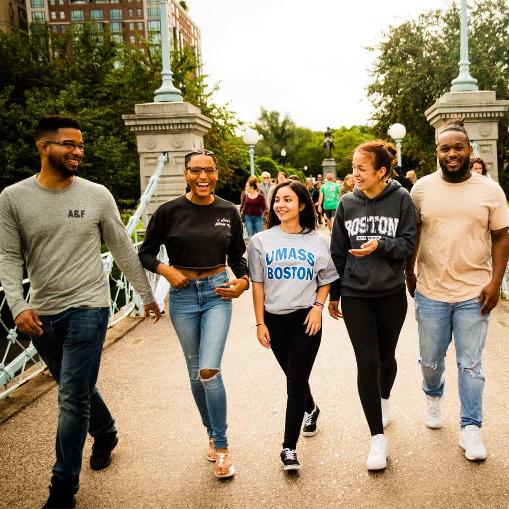 Students walking around Boston